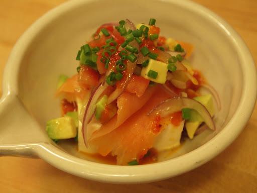 Aya's Kitchen: Hiyayakko with Salmon Ceviche & Red Yuzu Kosho Dressing