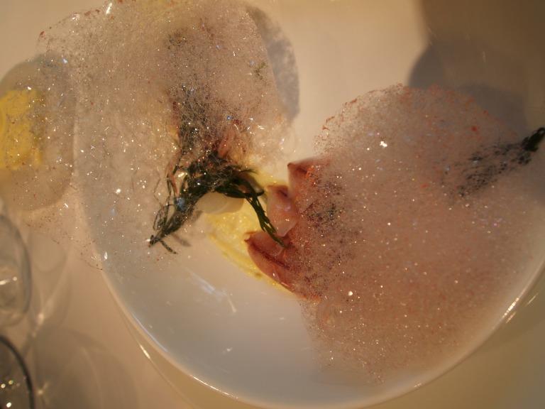 Hotaru ika with ume foam